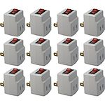 QVS 12-Pack Single-Port Power Adaptor with On/Off Switch