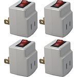 QVS 4-Pack Single-Port Power Adaptor with On/Off Switch